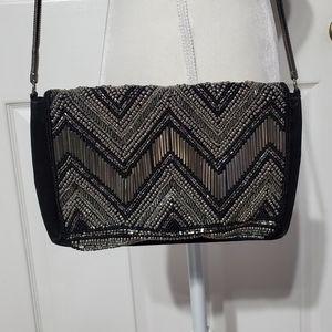 H & M Black/Gray Beaded Should Purse